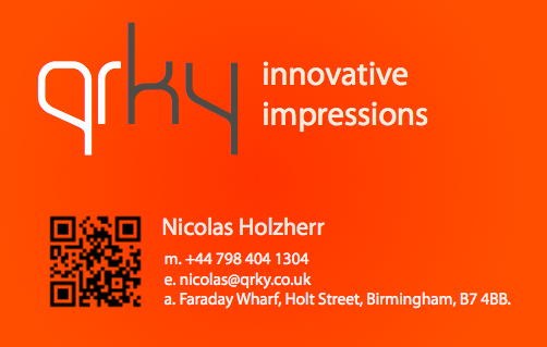 Product review discount qrky next gen business cards startupcafe last week birmingham startup qrky ltd launched online sales of its new product high spec business cards featuring 2d barcodes reheart Images